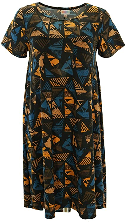 Lularoe Carly XS Brown And Blue Patterns On Brown At Amazon Best Lularoe Sewing Machine Print