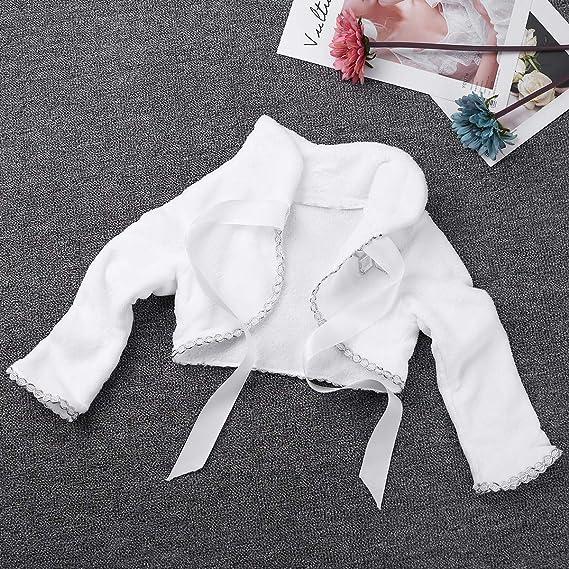 TiaoBug Cardigan Neonata Bambina Coprispalle Aperto Bolero Bianco a Manica Lunga Cappotti Invernali Abito da Sposa Cerimonia Sera Battesimo Compleanno 6 Mesi-8 Anni