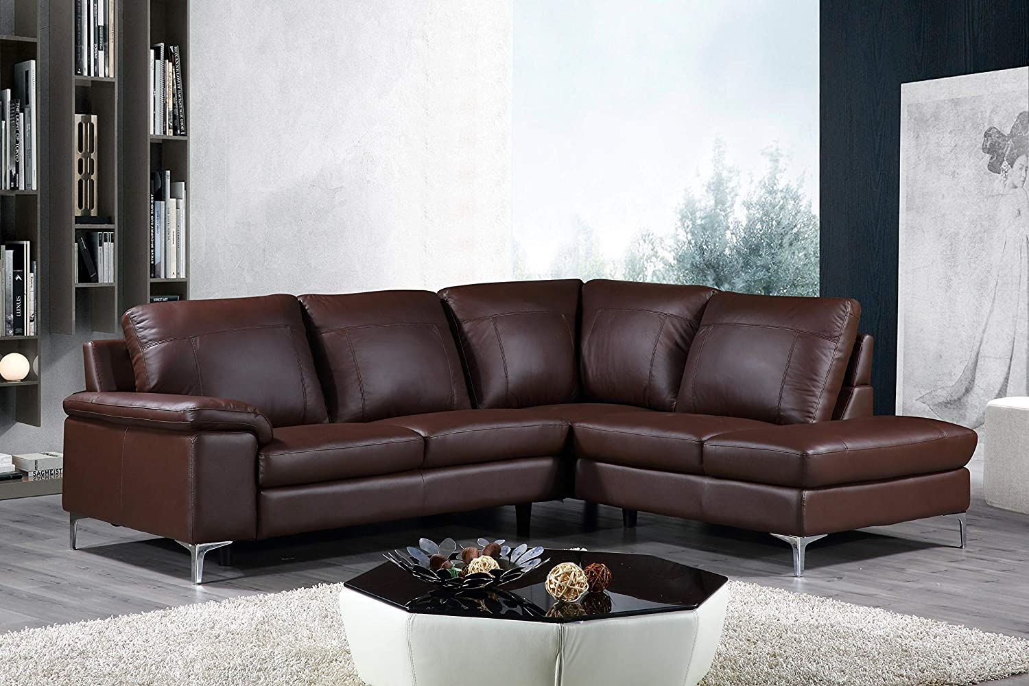 Cortesi Home Contemporary Dallas Genuine Leather Sectional Sofa with Right  Chaise Lounge, Brown