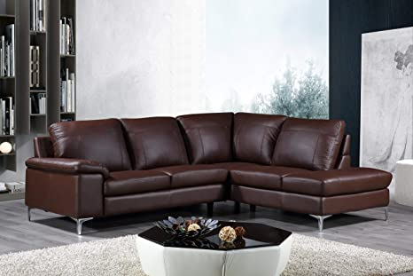 Astounding Cortesi Home Contemporary Dallas Genuine Leather Sectional Sofa With Right Chaise Lounge Brown Pdpeps Interior Chair Design Pdpepsorg