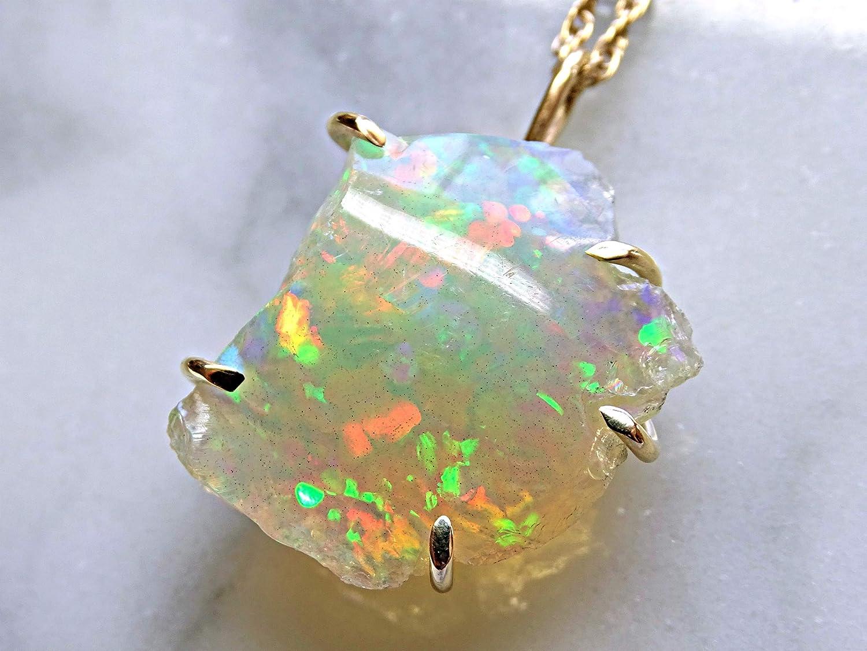 Silver Opal Necklace Dainty Minimal Opal Jewelry Opal Necklace Ethiopian Welo Opal Raw Stone Gold Opal Necklace October Birthstone