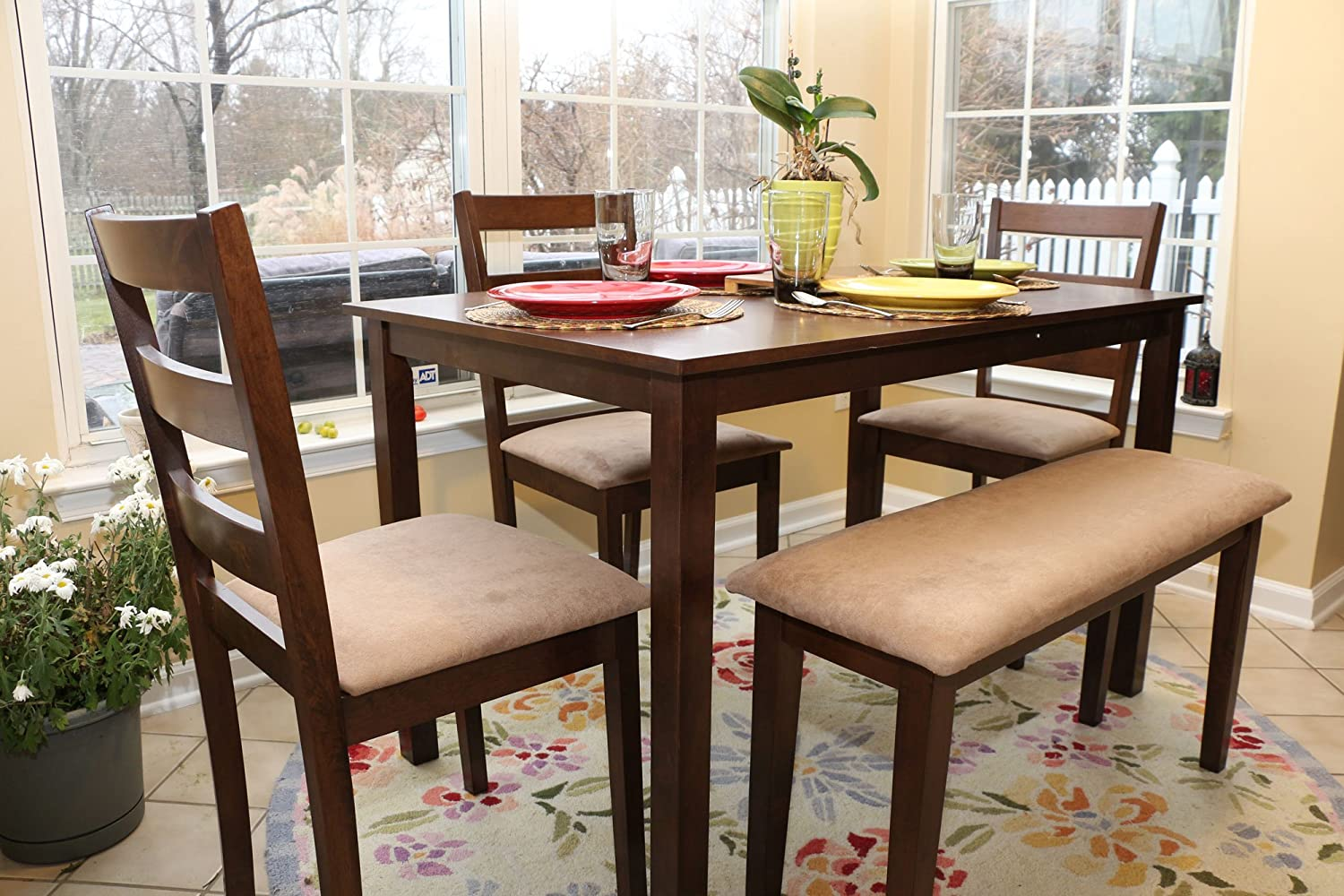 Amazon.com   5pc Dining Dinette Table Chairs U0026 Bench Set Walnut Finish  150237   Table U0026 Chair Sets