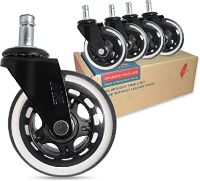 Amazon Com Axl Office Chair Caster Wheels Replacement Pu Rollerblade Caster With 608zz Roller Bearing Desk Chair Floor Protector No Noise Safe For All Hardwood Floors 3 Inch Black Clear Furniture Decor