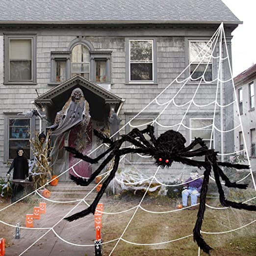 Cheerin Outdoor Halloween Decorations - Scary Spider Decorations Set Comes with 50 inches Giant Fake Spider, 200 inches Triangle Web and 40gr Spider Webs | Props for Outdoor , Indoor, Porch Décor