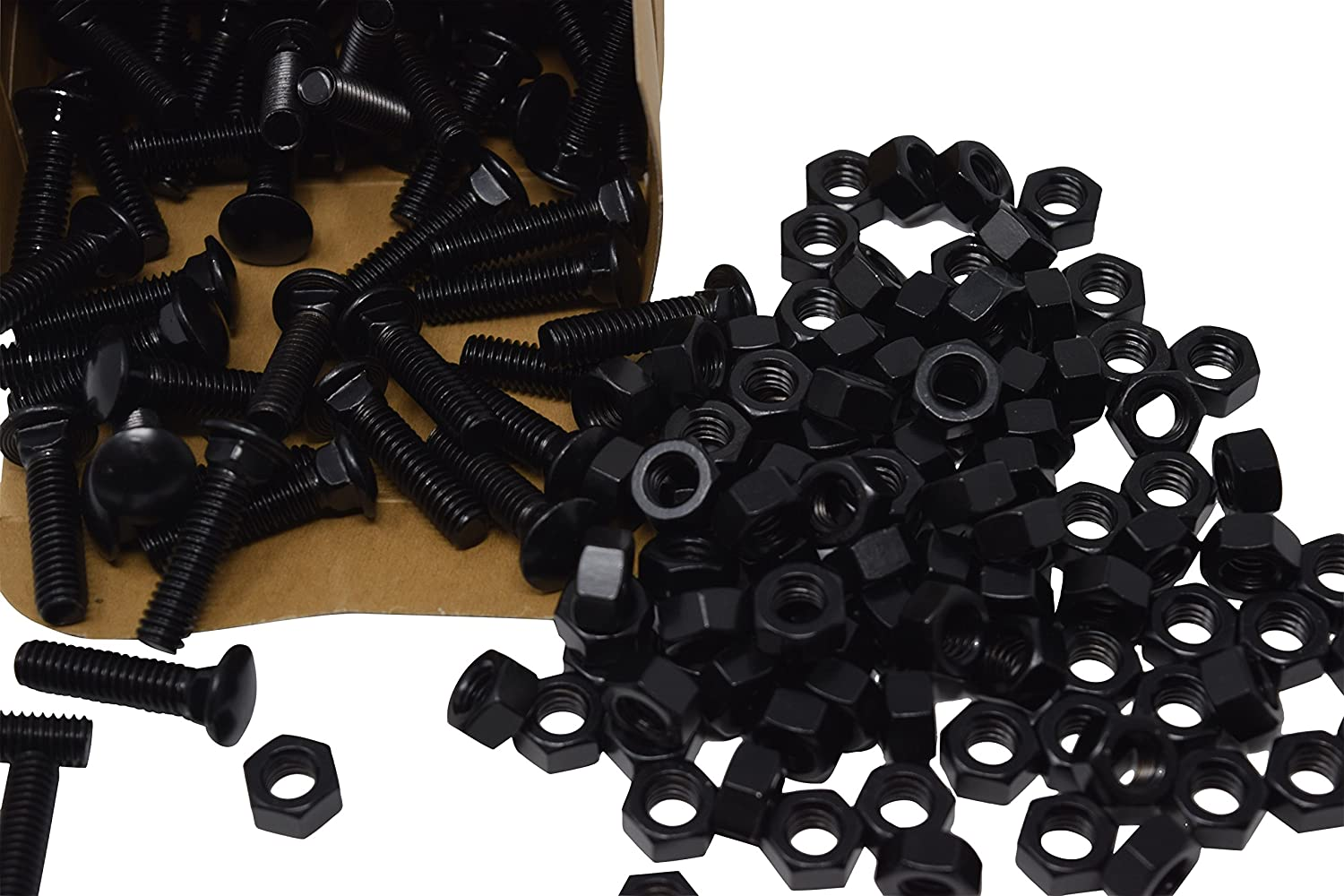 Includes Nuts Black Carriage Bolts 5//16in x 1-1//4in 100 Count