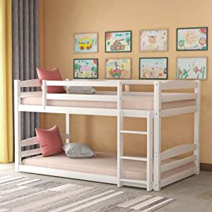 Twin Over Twin Bunk Bed For Kids Detachable Wood Twin Bunk Bed Frame Kitchen Dining