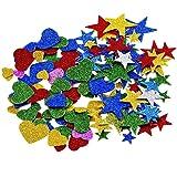 ULTNICE 2 pack Glitter mousse autocollants paillettes étoiles Stickers coeur Stickers pour mur plafond des projets de bricolage