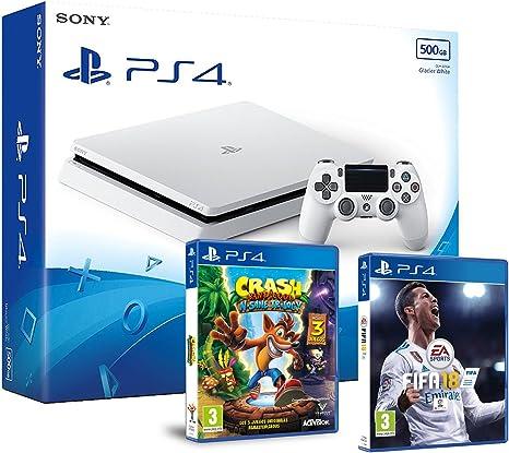 PS4 Slim 500Gb Blanca Playstation 4 Consola - Pack 2 Juegos - FIFA 18 + Crash Bandicoot N.Sane Trilogy: Amazon.es: Videojuegos