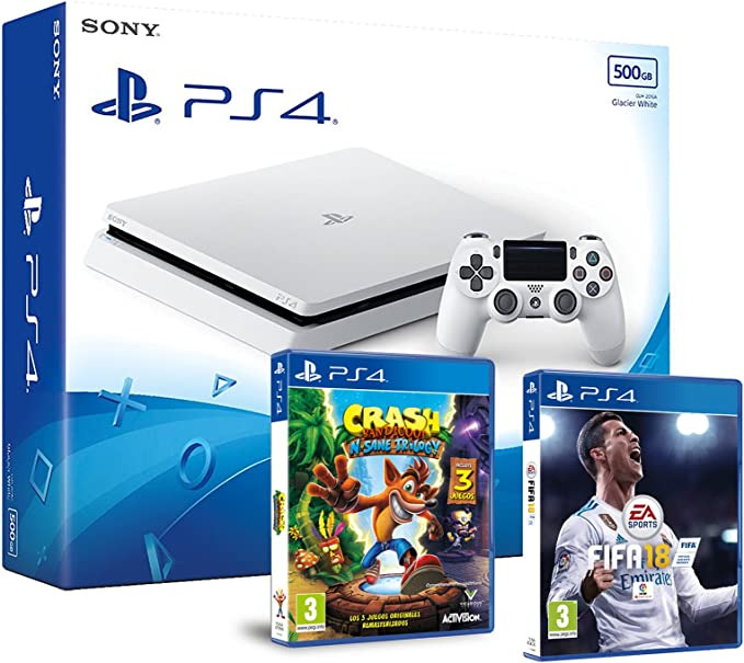 PS4 Slim 500Gb Blanca Playstation 4 Consola - Pack 2 Juegos - FIFA 18 + Crash Bandicoot N.Sane Trilogy: Amazon.es: Videojuegos