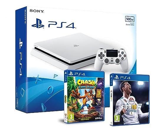 PS4 Slim 500Gb Blanca Playstation 4 Consola - Pack 2 Juegos ...
