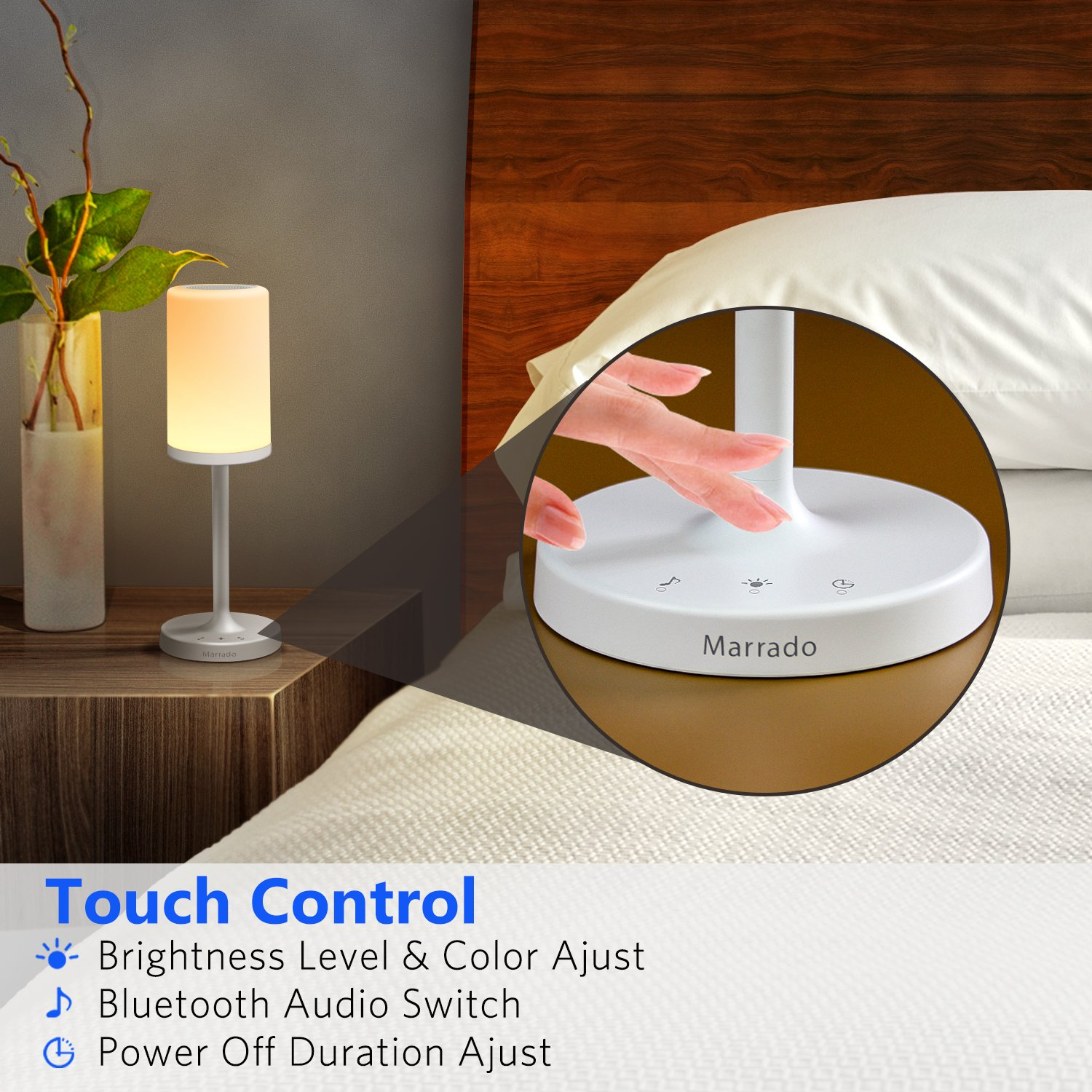 Marrado Bluetooth Speakers + Bedside Lamp, Night Light, Smart Touch Control Table Lamp for Bedroom Living Room, Portable Rechargeable LED Desk Lamp, Dimmable Warm White & Color Changing by Marrado (Image #2)
