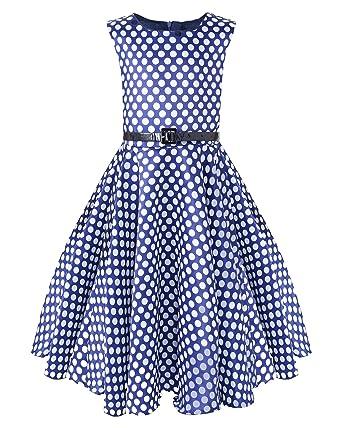 Kidsform Maedchen 1950er Vintage Retro Kleid Tupfen Kleid Hepburn Stil  Kleid Blumen Kleid  Amazon.de  Bekleidung 6121405ba0