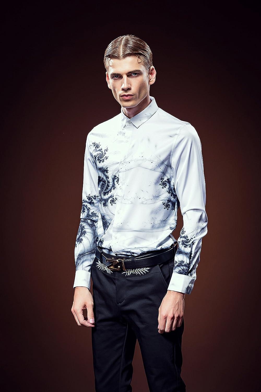 c648247d78aff FANZHUAN Camisa Slim Fit Hombre Blanca Flores Moda Fashion  Amazon.es  Ropa  y accesorios