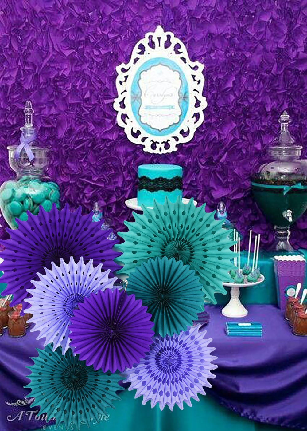 Details About Mermaid Birthday Party Supplies Under The Sea Party Supplies Teal Purple