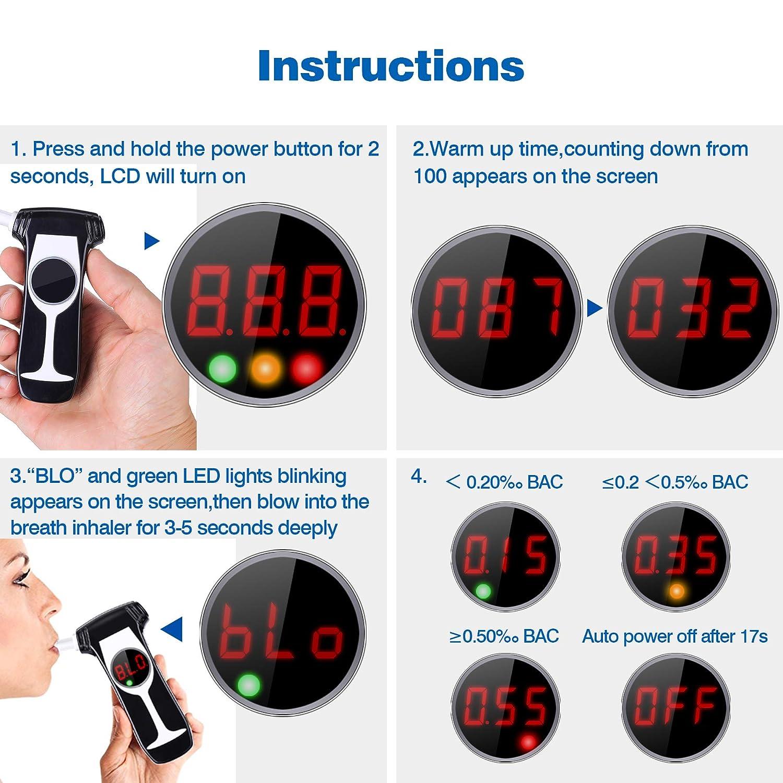 Audew Alcohol/ímetro Digital Port/átil con Pantalla LCD Tecnolog/ía de Sensor Semi-Conductor con 5 Boquillas Desechables