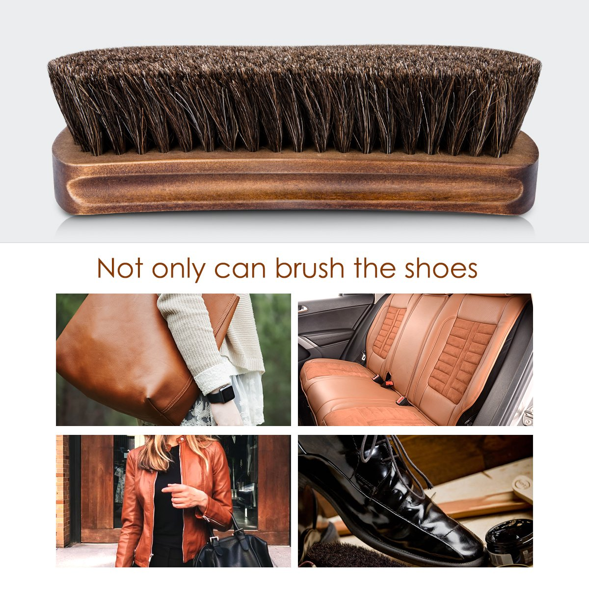 6.7'' Horsehair Shoe Brushes with Horse Hair Bristles for Boots, Shoes & Other Leather Care, 2 Pack (Brown) by Foloda (Image #5)