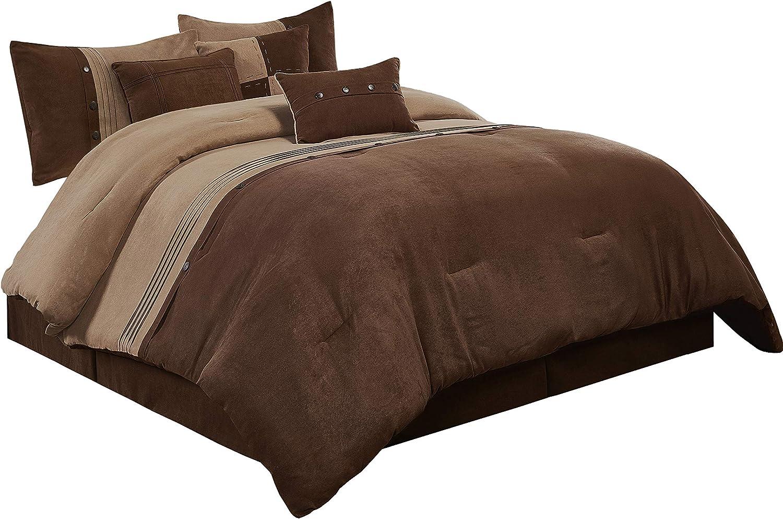 chandler 7 piece western lodge micro suede comforter set queen brown