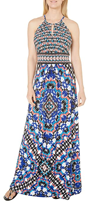London Times Womens Kaleidoscope Print Dress 12 Blue multi