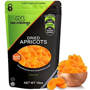 Sun Dried Turkish Apricots, No Sugar Added (16oz - 1 Pound) Packed Fresh in Resealable Bag - Sweet Dehydrated Fruit Treat, Trail Mix Snack - Healthy Food, All Natural, Vegan, Gluten Free, Kosher