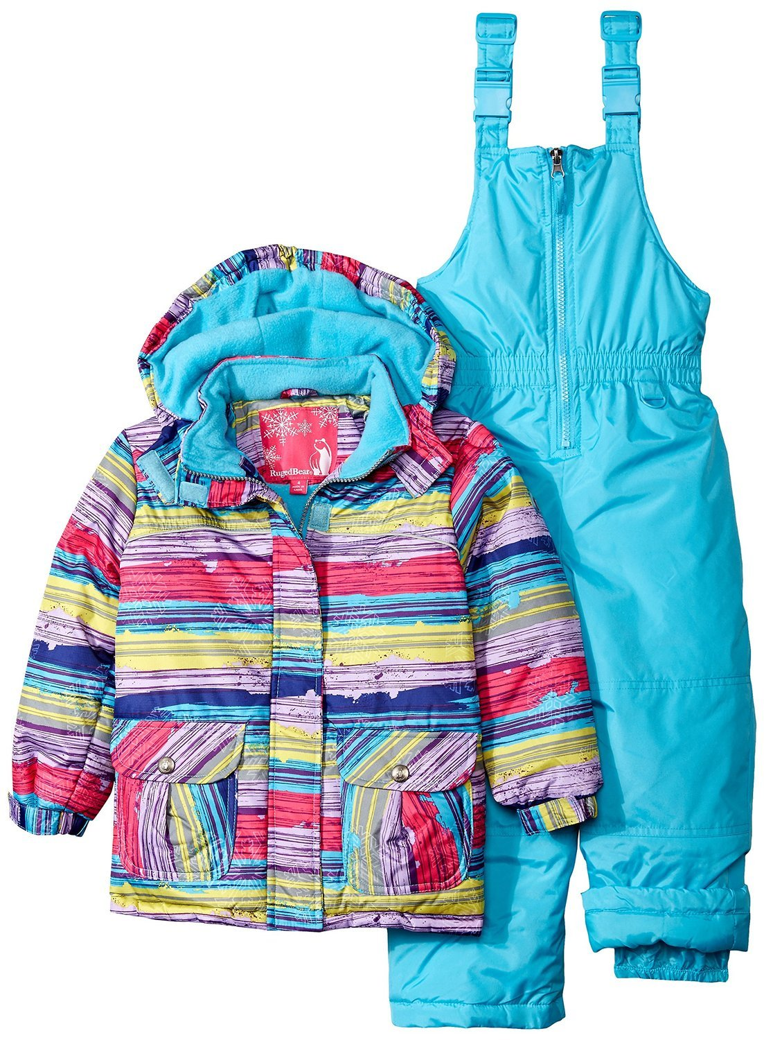 Rugged Bear Little Girls' Toddler Snowsuit with Striped Coat, Purple, 2T