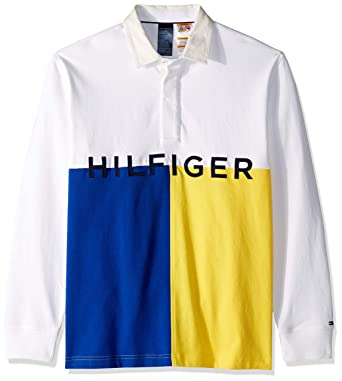 8ed71eaeccb Tommy Hilfiger Men's Adaptive Rugby Shirt with Magnetic Buttons Regular  Fit, Bright White, ...