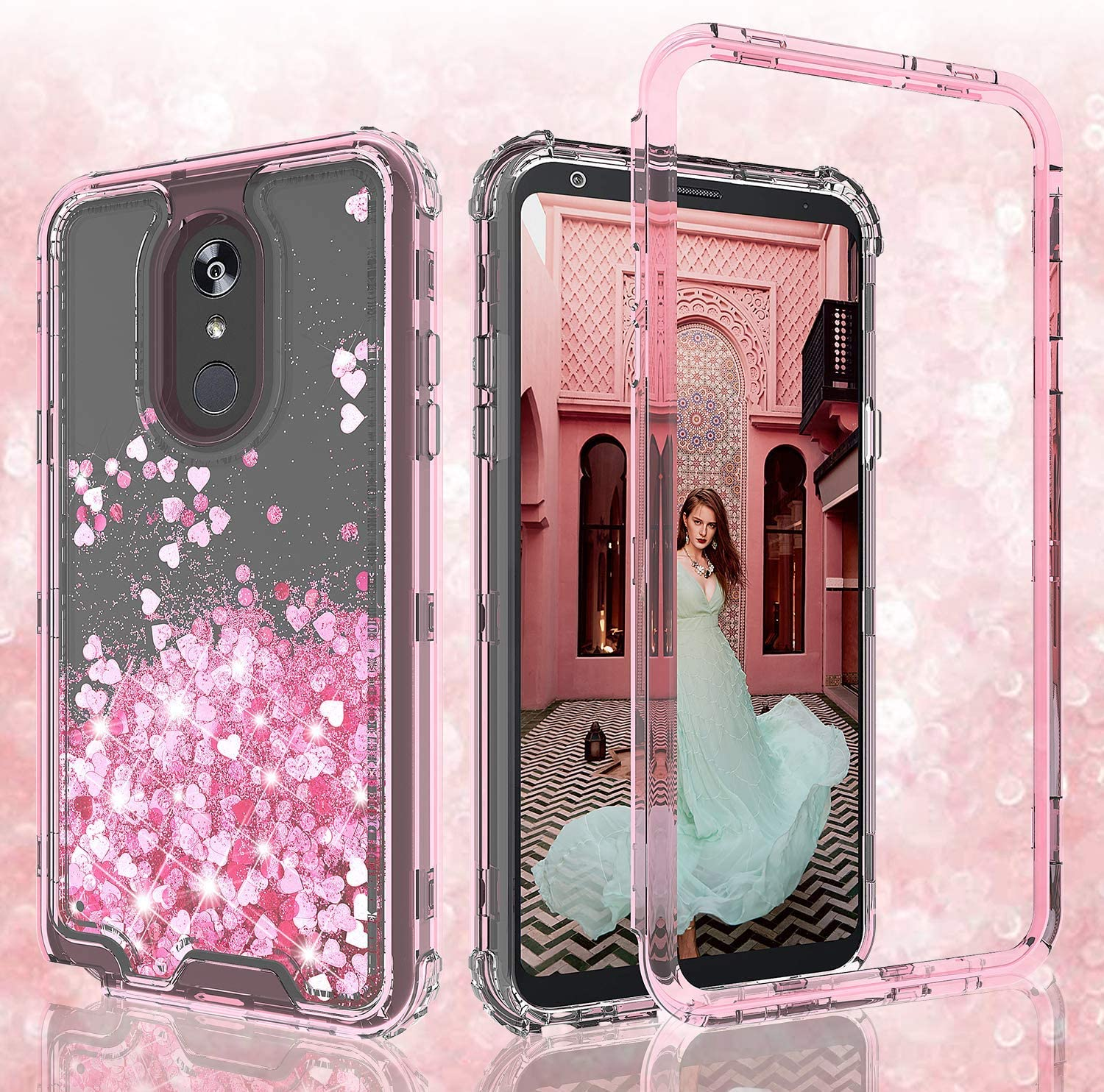 Coverlab Cases for LG Rebel 4/Aristo 3/Phoenix 4/Zone 4/Risio 3/Tribute Empire Case, Hard Clear Glitter Sparkle Liquid Heavy Duty Shockproof Three Layer Protective Bling Cases for LG Aristo 2 - Pink