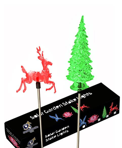 Solar Outdoor Garden Stake Lights with Christmas Tree and Reindeer  Figurines and Color Changing Holiday Decoration - Solar Outdoor Garden Stake Lights With Christmas Tree And Reindeer