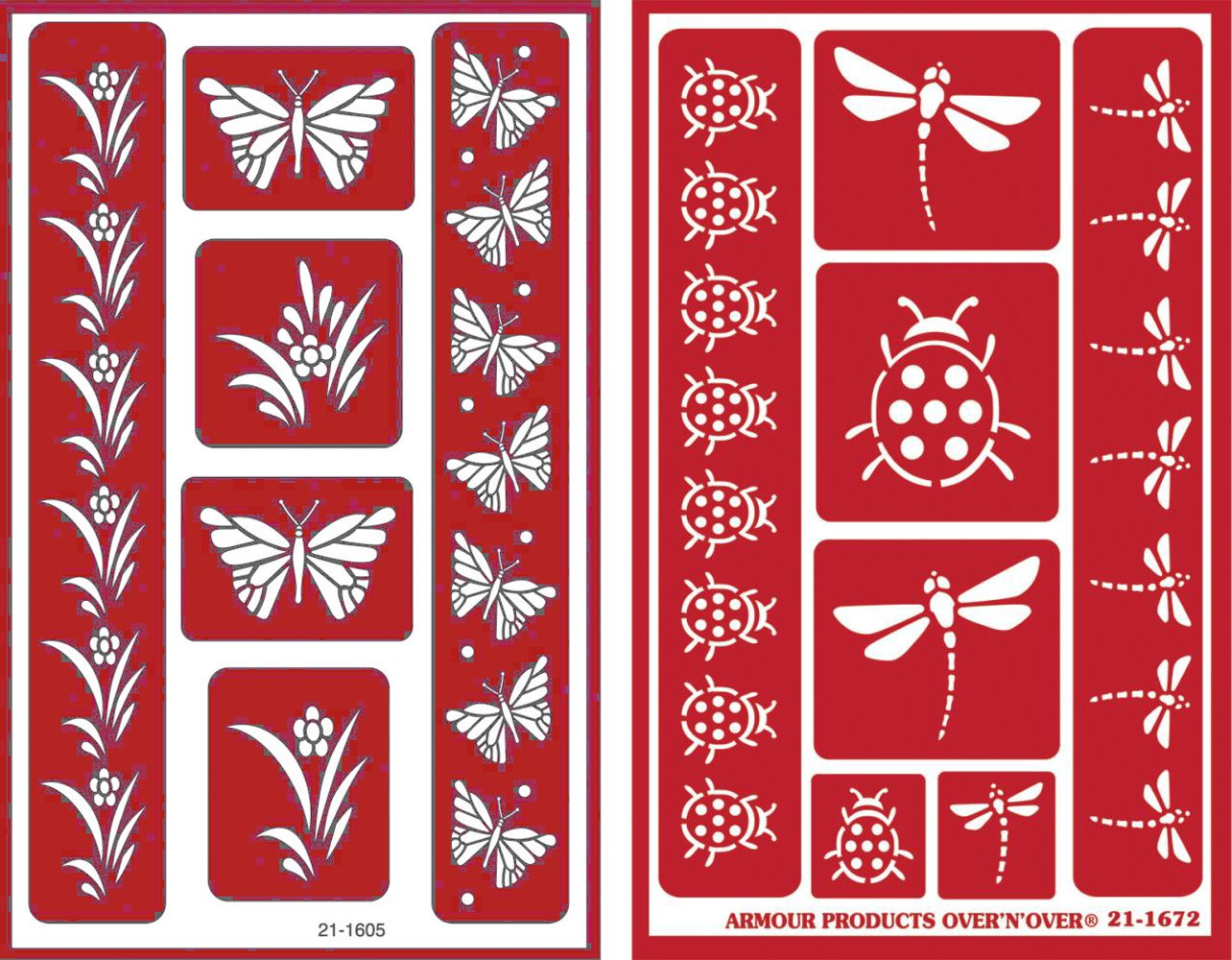 Over 'n' Over Reusable Self-Stick Etching Stencil for Glass (or Stamping) - Bundle of Two Sets - Butterflies & Garden Friends Armour Products 4336975330