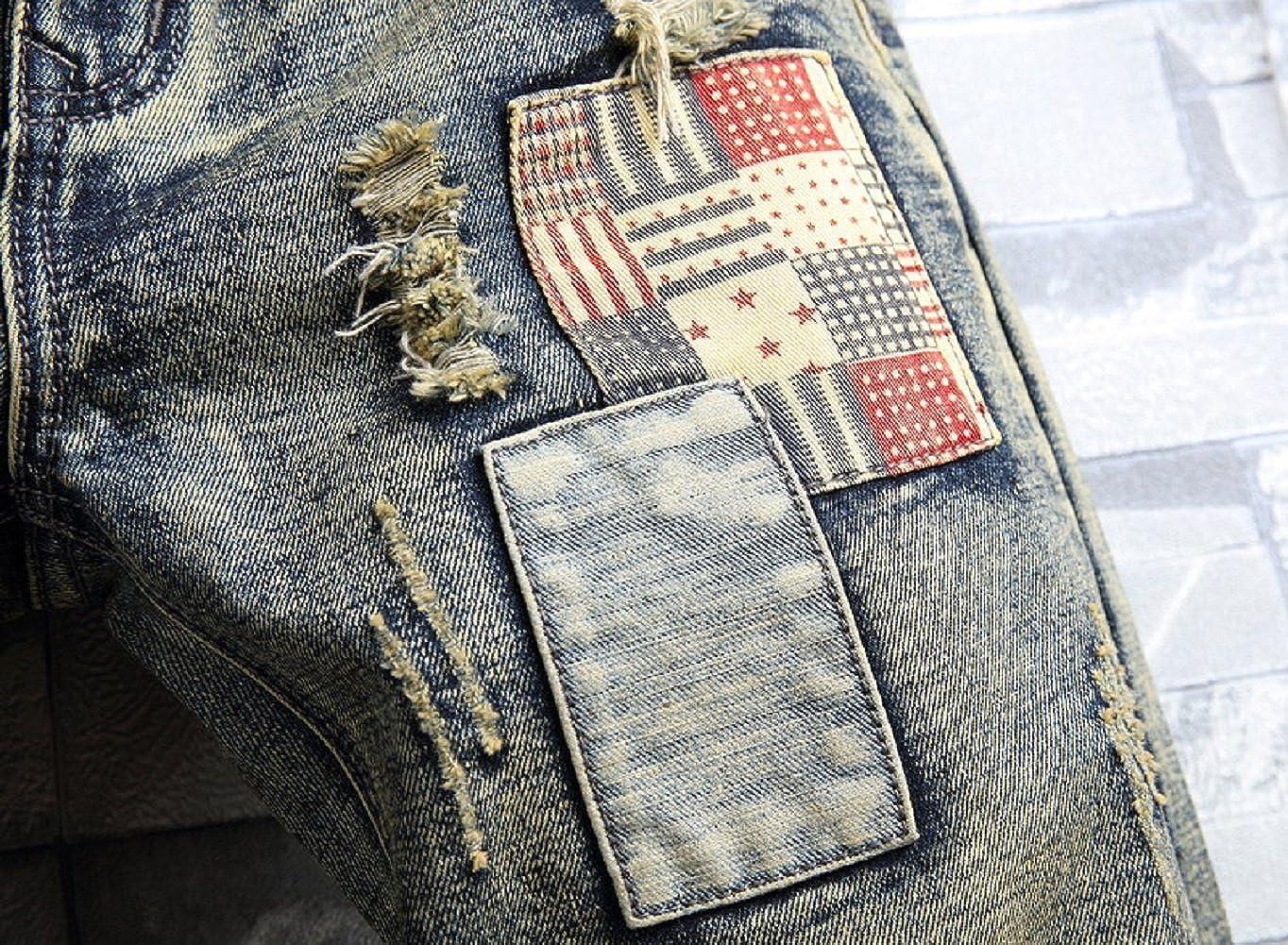 Liuhond Mens Casual Denim Ripped Mid Waist Distressed Jeans Shorts Hole Cut-Off Short Dark Blue