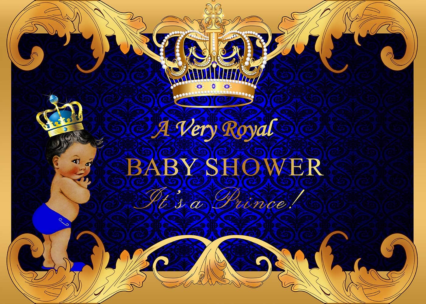 GYA 8x6ft Royal Prince Baby Shower Backdrop Black Boy Gold Crown Photography Background Party Supplies