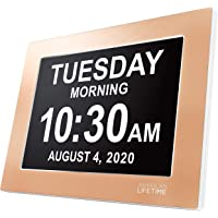 American Lifetime Premium Version - Day Clock - Extra Large Impaired Vision Digital Clock with Battery Backup & 5 Alarm Options (Limited Edition Gold Color, Metal Frame)