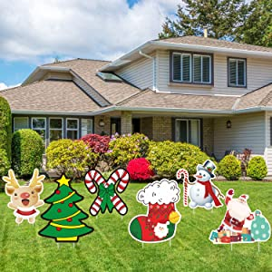 Christmas Decorations Outdoor Yard Sign 6 Pack, Large Lawn Stakes for Garden Patio Party Decor New year Winter Wonderland Corrugate-Christmas Tree, Santa Claus, Reindeer, Crutches, Snowman, Stockings