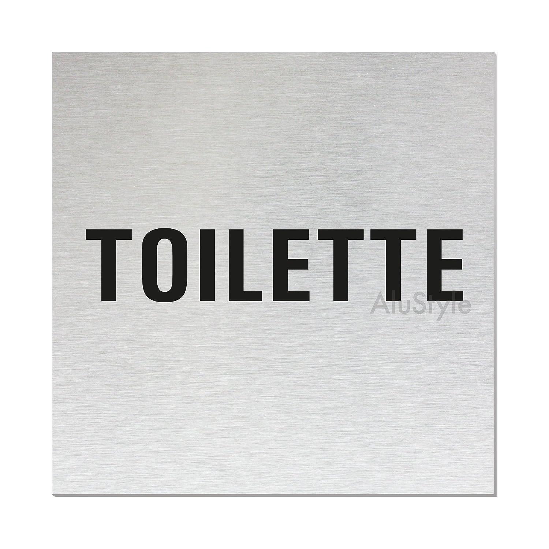 Aluminium Edelstahlschilder-Optik 60x100 mm T/ürschild Nr.44629-S WC Schild Toilettenschild Bitte setzen