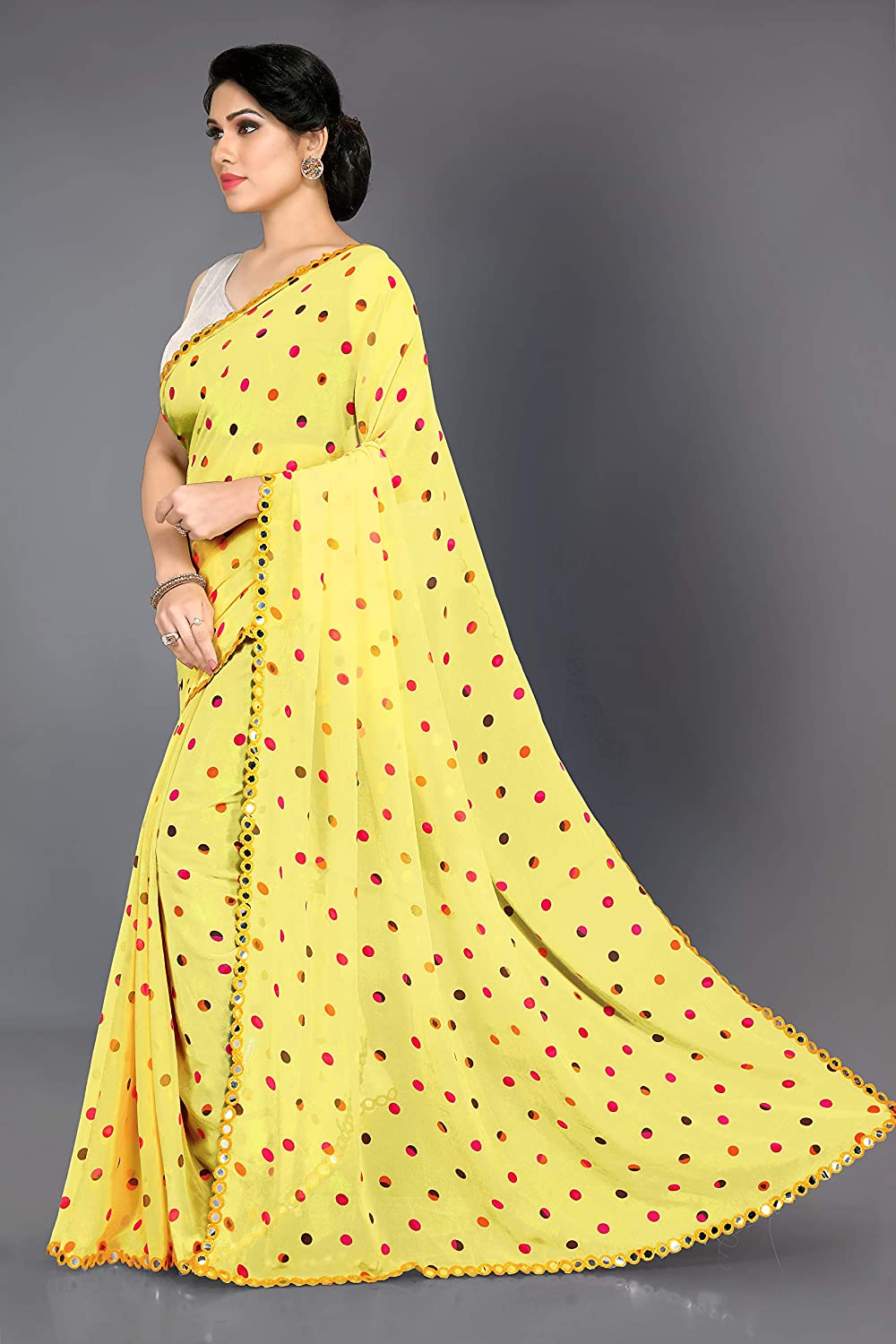 Mirchi Fashion Traditional Indian Fancy All Over Circular Patten Prints Saree for Women with & Mirror Lace Border & Blouse Piece Yellow