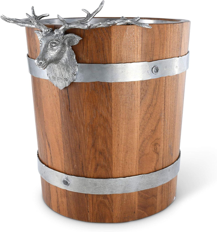 Teak Wood Ice Bucket with Elk Deer Heads and Antlers