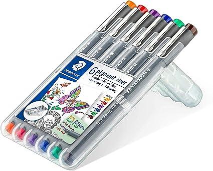 Staedtler 308 Pigment Liner – Rotulador de – 0,5 mm – Estuche de 6), varios colores: Amazon.es: Oficina y papelería