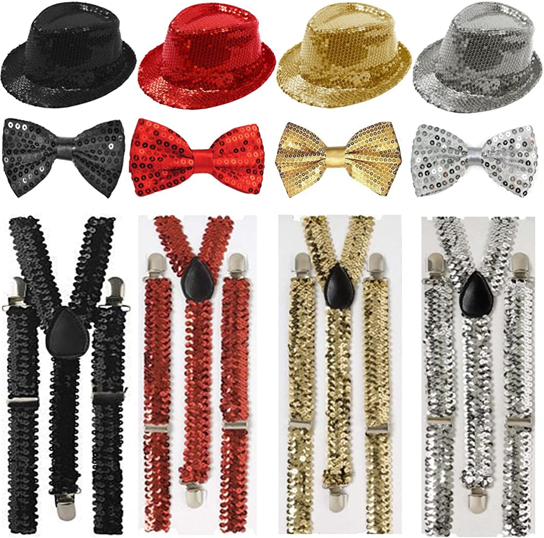 GOLD CIRCUS CLOWN SEQUIN BOW TIE mens womens fancy dress costume accessory