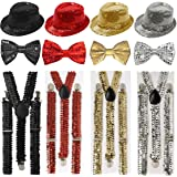 GUBA® SPARKLY SEQUIN ADULTS HAT BRACES DICKY DICKIE BOW TIE FANCY DRESS PARTY SET (Red Sequin 3Pcs (Hat+Bow Tie+Braces))