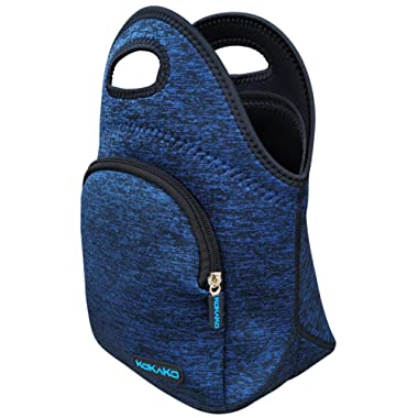 Lunch Boxes Neoprene Small Lunch Bag by KOKAKO Tote Washable Insulated Waterproof for Men Women Kids(DarkBlue+Packet)