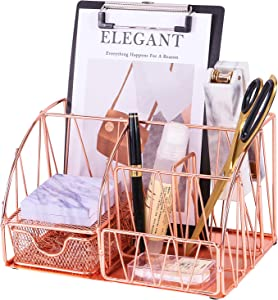 Z PLINRISE Desk Accessories Organizer, 5 Compartments with Drawer - Letter Holder, 2 Pen Holders, Sticky Note Holder and Accessory Slot, Wire Stationery Caddy for Office Supplies, Rose Gold