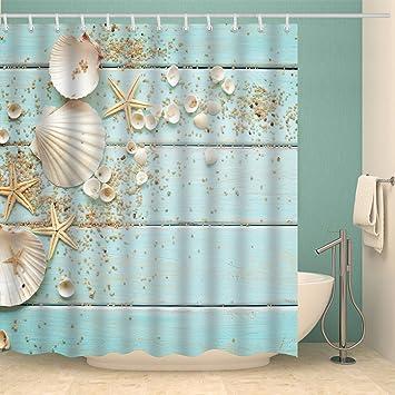 Beach Starfish Waterproof Bath Shower Curtain Bathroom Washroom Panel 12 Hooks