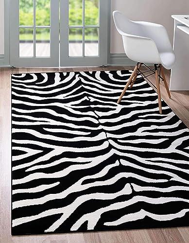 Unique Loom Wildlife Collection Zebra Animal Print Black Area Rug 7' 0 x 10' 0