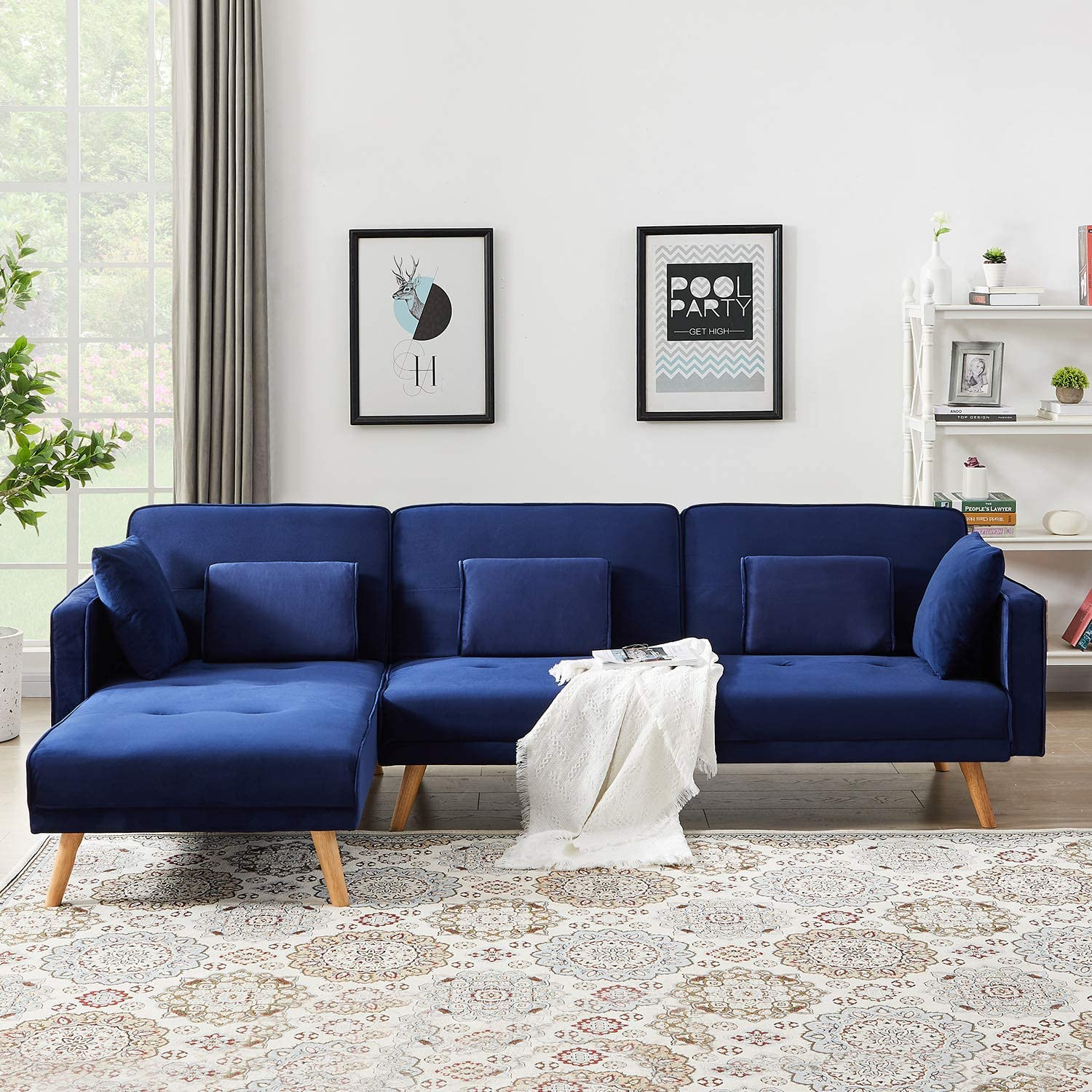 Amazon.com: DKLGG (Blue) Sectional Sofa Convertible Couch L-Shape Chaise Lounge For Living Room Home Furniture: Furniture & Decor