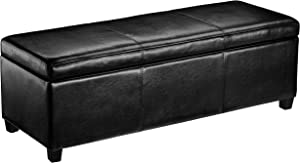 First Hill Madison Rectangular Faux Leather Storage Ottoman Bench, Large, Midnight Black