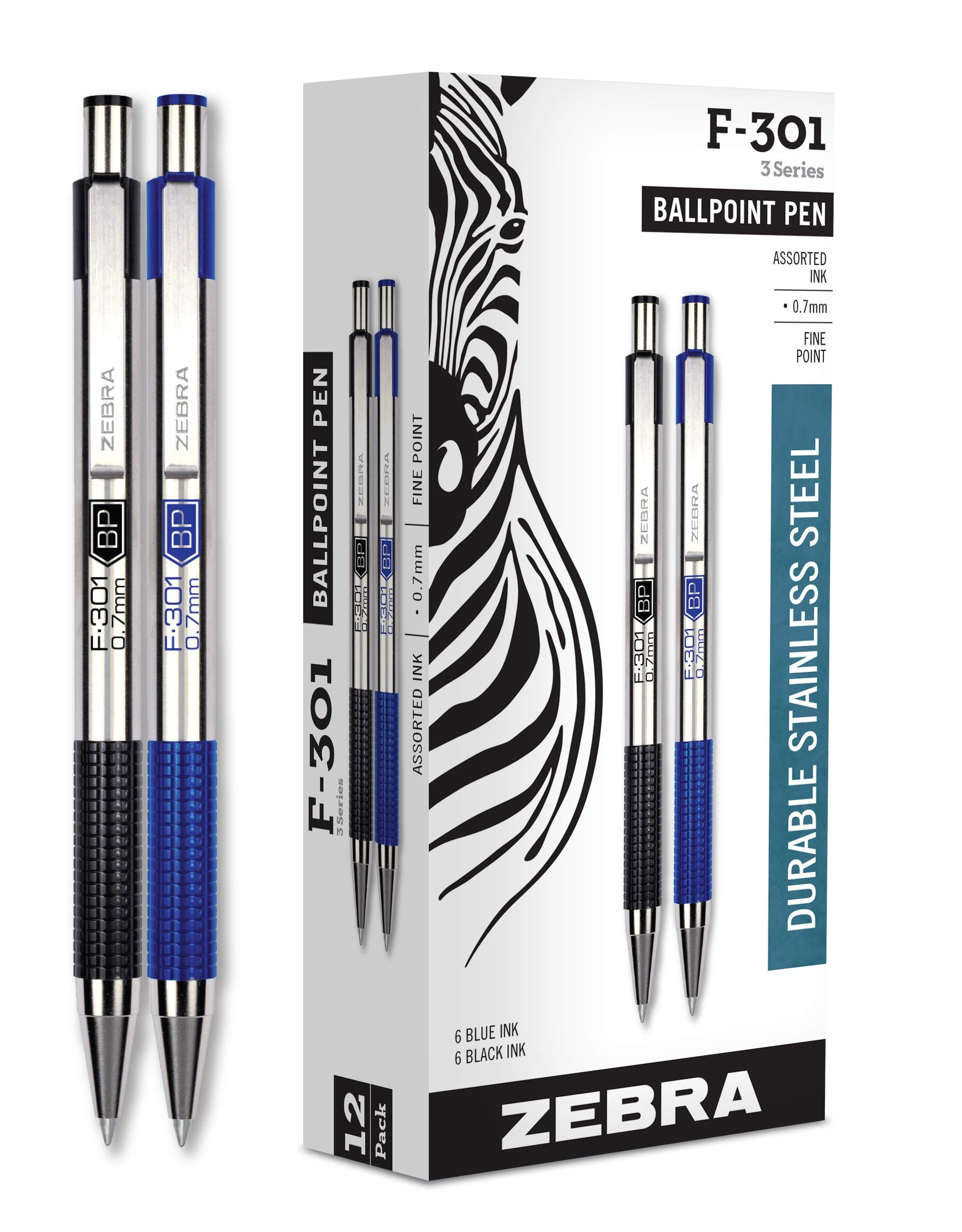 Zebra Pens Fine Point F 301, Bulk Combo Pack of 6 BLACK INK & 6 BLUE INK metal pens (Total of 12 Pens), Ballpoint Stainless Steel Retractable 0.7mm fine point ink pens