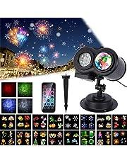 Lampe Projecteur LED du Nouvel An 2019, 16 Motifs ALED LIGHT Projecteur Lumière Vague d'Eau & Motif, Projecteur LED Extérieur Télécommande, Lampe Projection Éclairage Décoration Fête, Saint-Valentin