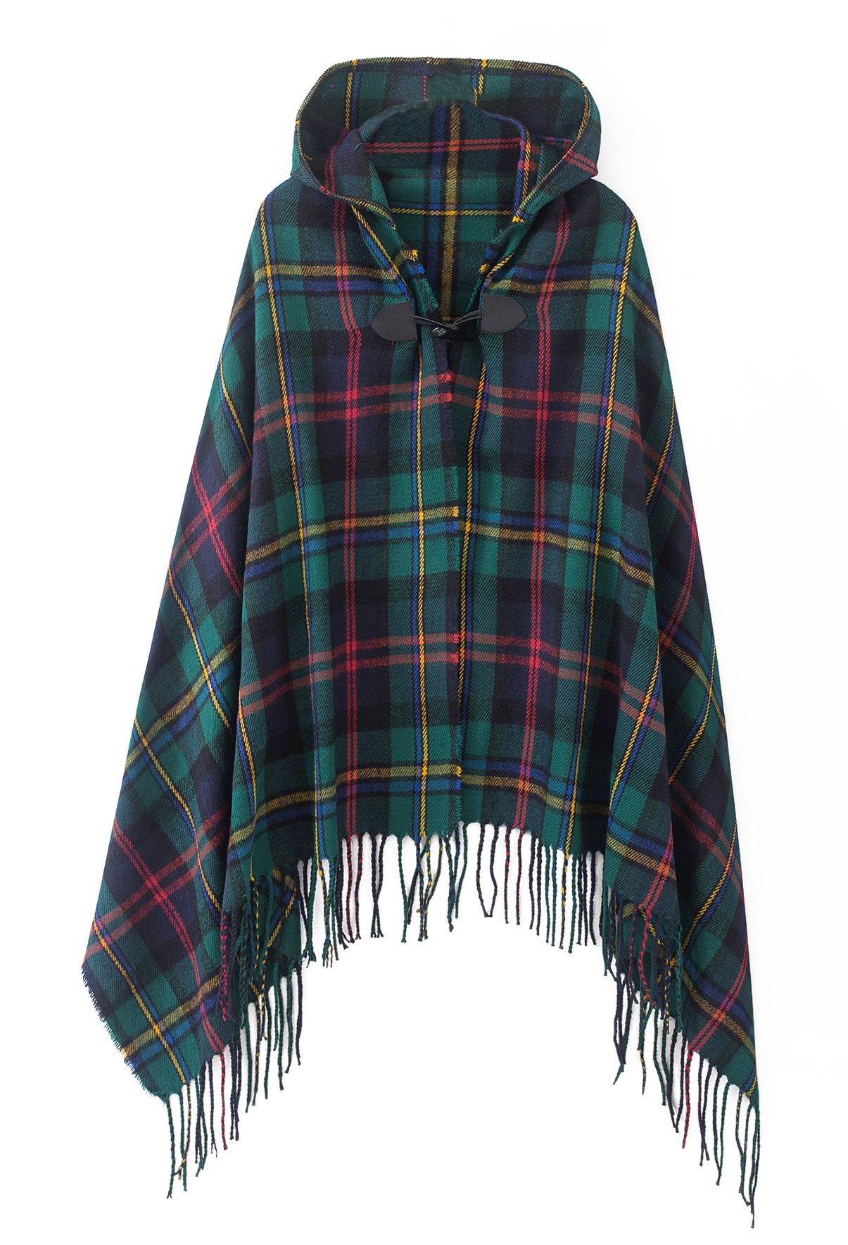 Women's Vintage Plaid Knitted Tassel Poncho Shawl Cape Button Cardigan (One Size, Series 2 Green)