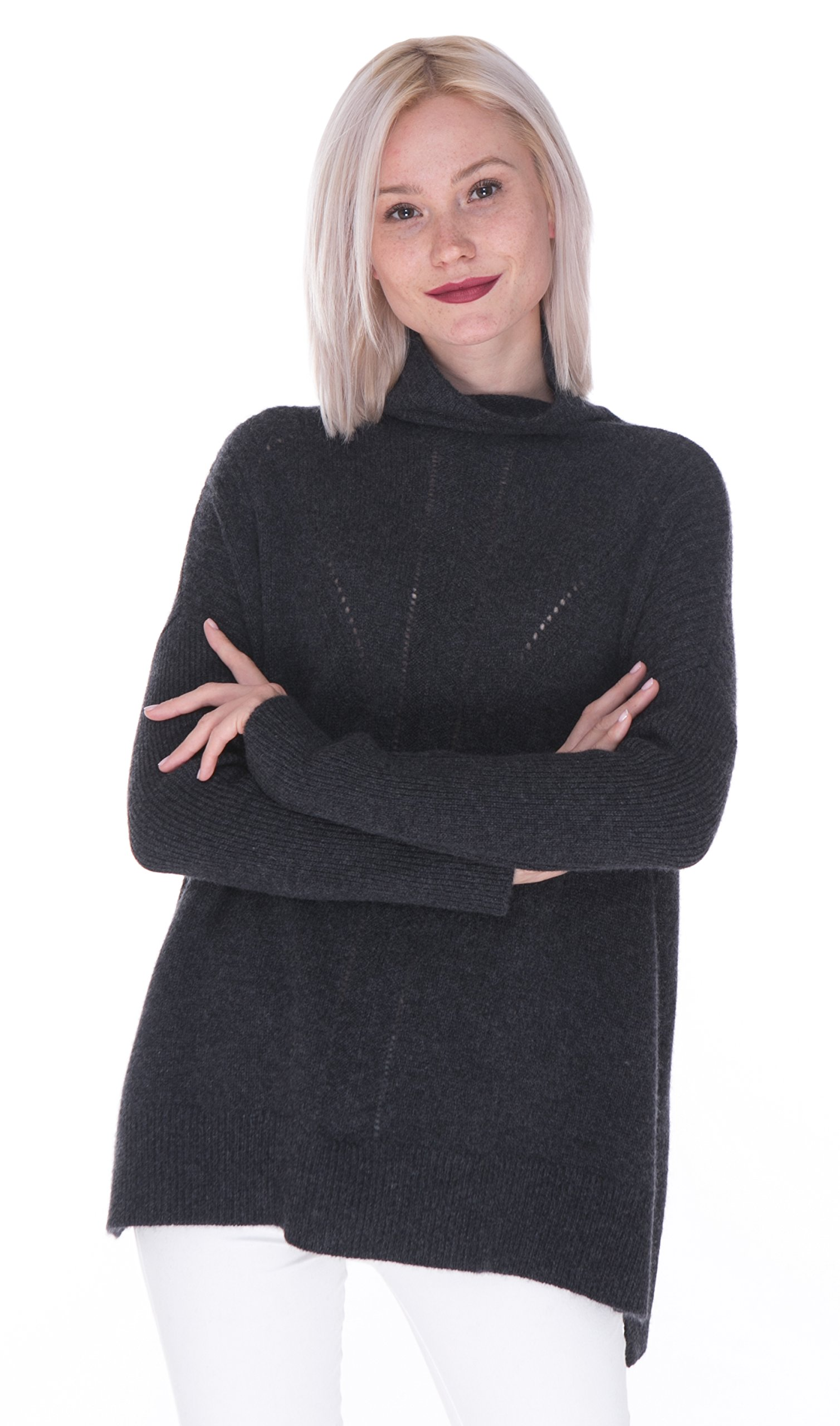 cashmere 4 U Women's 100% Cashmere Intarsia Knitted Long Sleeve Sweater Charcoal Large