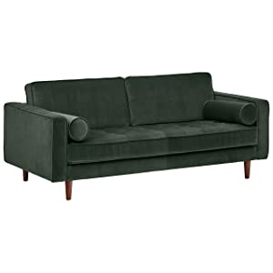 "Rivet Aiden Tufted Mid-Century Modern Velvet Bench Loveseat Sofa, 74""W, Hunter Green"