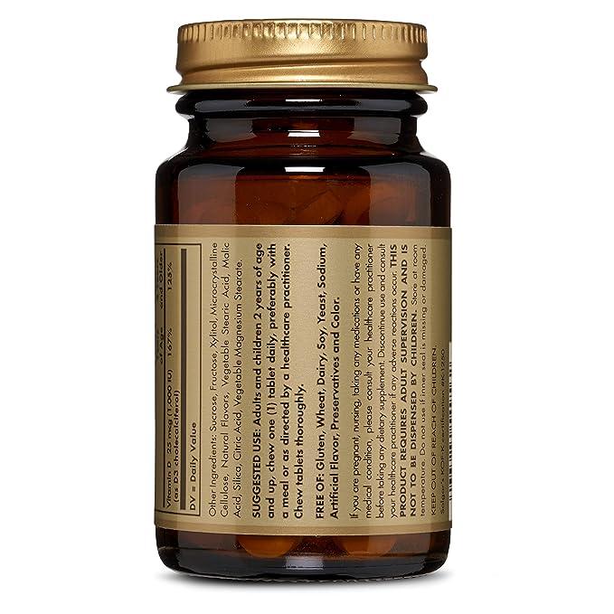 Solgar Vitamina D3 1000 UI (25 µg) Comprimidos masticables ...